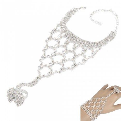 Charming Net Design Rhinestone Bracelet & Ring | favwish - Jewelry on ArtFire