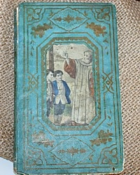 Antique French Children's Religious & Moral Book-Lemercier,boys,aqua, gilt, embossed, illustrated,priest,holiday,
