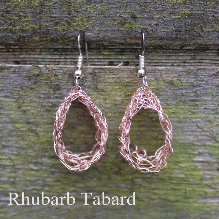 Pink hoop earrings ,  crochet wire earrings , Handmade dangle earrings,  Handmade jewellery , pretty earrings , pink jewellery by RhubarbTabard on Etsy