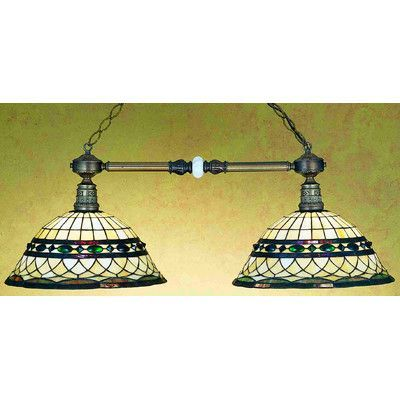 Meyda Tiffany Victorian Tiffany Roman Two Light Kitchen Island Pendant