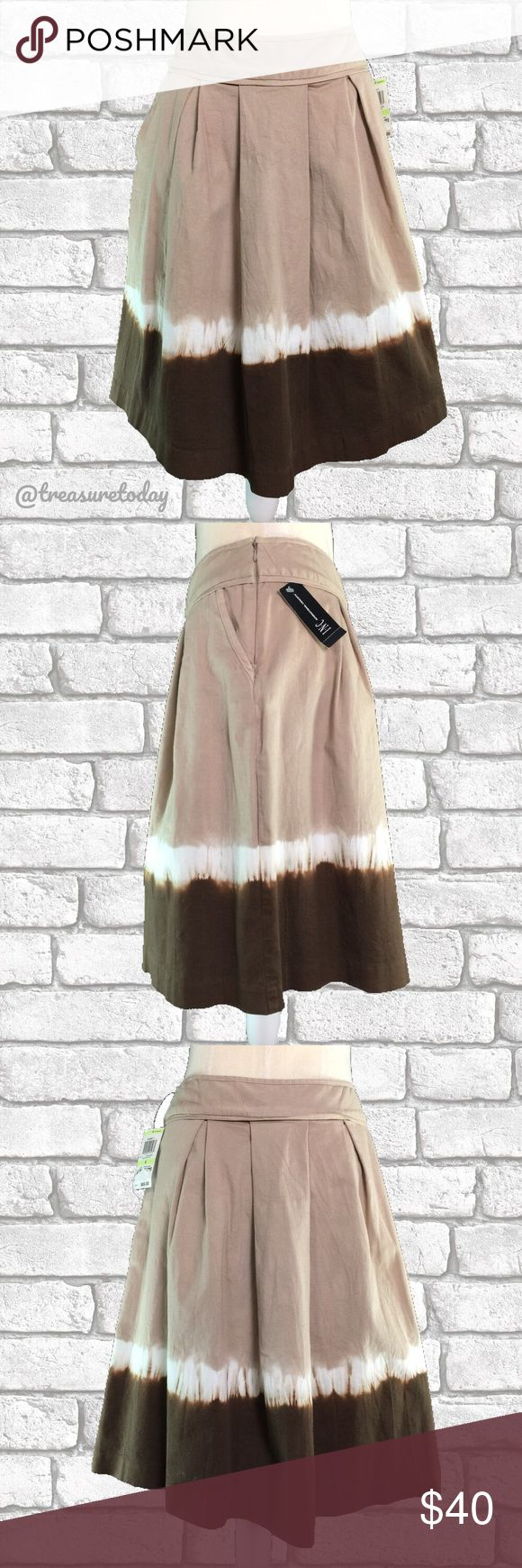 International Concepts Audrey Dip Dye Skirt NWT Brand new with tags. Audrey 1 Brown dip dye skirt. Beige white and brown colors. Zipper on the side. Knee length. Denim like fabric. Fits size 4 to 6. Feel free to ask questions. Bundle 2 or more items to get discount 💖 INC International Concepts Skirts A-Line or Full