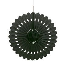 Black Tissue Paper Decorative Fan, 16""