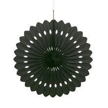 "Black Tissue Paper Decorative Fan, 16"""