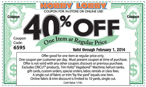 Pinned January 31st: 40% off a single item at Hobby #Lobby, or online via promo code 6595 #coupon via The Coupons App