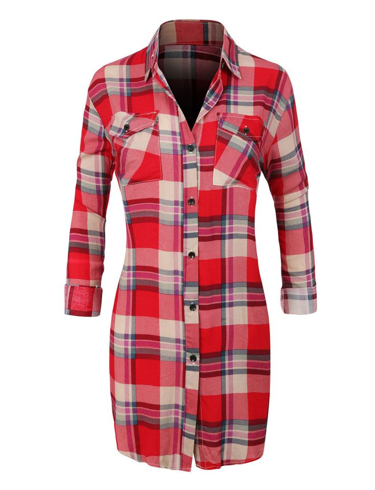 Womens Casual Plaid Button Down Shirt With Roll Up Sleeves