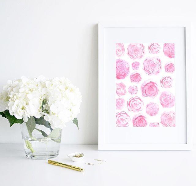 'Rosé Please' watercolour art print.