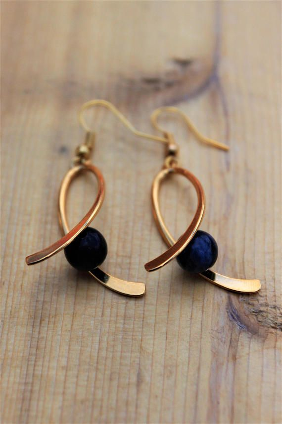 14K Gold Drop Earrings  Black Obsidian  14K Gold Dangle