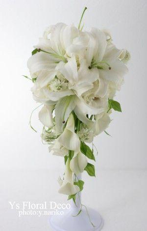 白いユリのキャスケードブーケ 綱町三井倶楽部さんへ : Ys Floral Deco Blog