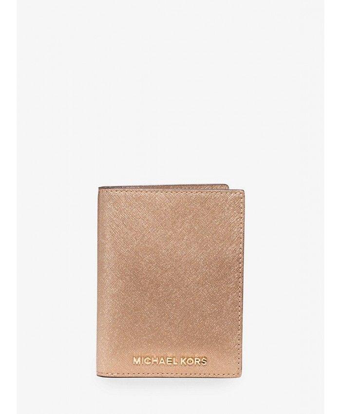 71d05108290c Michael Kors Jet Set Travel Metallic Saffiano Leather Passport Wallet -  Pale Gold - MK397BG