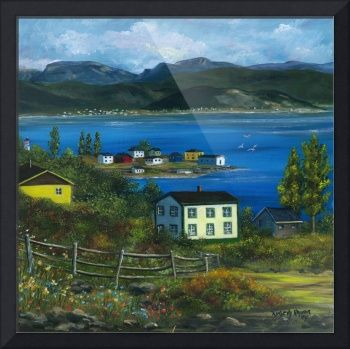 "Acrylic Painting - A view of Gros Morne Mountains, Woody Point, NL   ""Woody+Point+Gros+Morne+National+Park+NL""+by+Kimberly+Ropson,++//+Salt+Box+House+in+Woody+Point,+Gros+Morne+National+Park,+Newfoundland+Labrador.+//+Imagekind.com+--+Buy+stunning+fine+art+prints,+framed+prints+and+canvas+prints+directly+from+independent+working+artists+and+photographers."