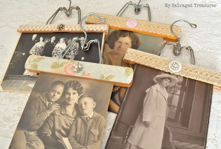 Decorated Wood Hangers from My Salvaged Treasures.