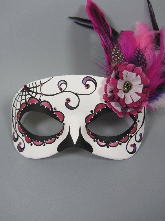 Deluxe Pink and Purple Day of the Dead Side Spiderweb and Flower Leather Masquerade Mask, OOAK