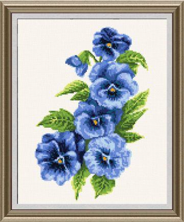Pansies 2 blue cross stitch pattern.
