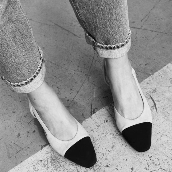 Chanel Runway two-tone slingback - Available at & picture by  Amsterdam based Gallery Tami Kern Depot-Vente