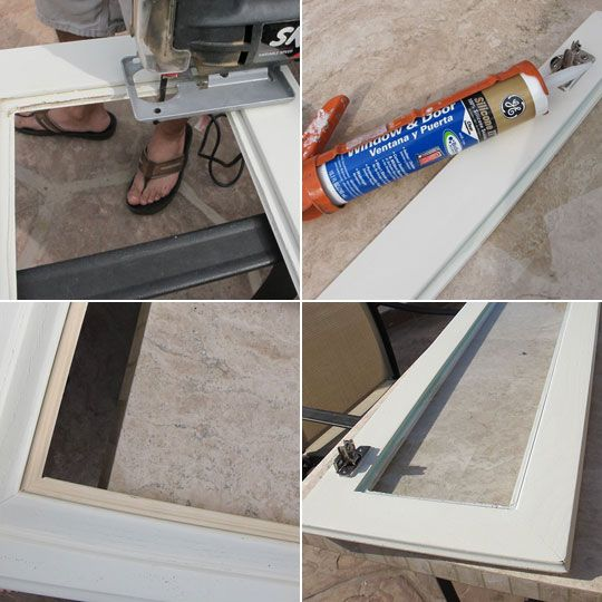 How to add glass to your kitchen cabinets.
