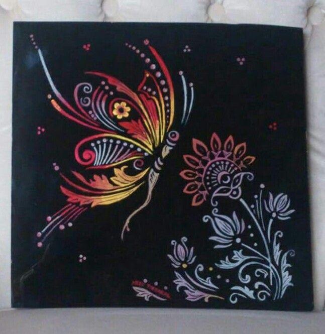 Neş'eTOPSAKAL.. Kelebek..Butterfly.. my work..  camaltı boyama  çalışmam..underglsss.. glasspaint