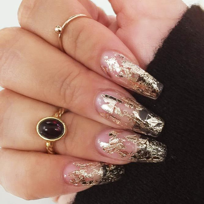 30+ Ideas For Gorgeous Nails With Gold Foil Designs