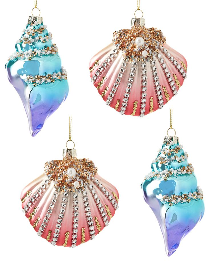 Noble Jems Set of Four Shell Ornaments  is on Rue. Shop it now.