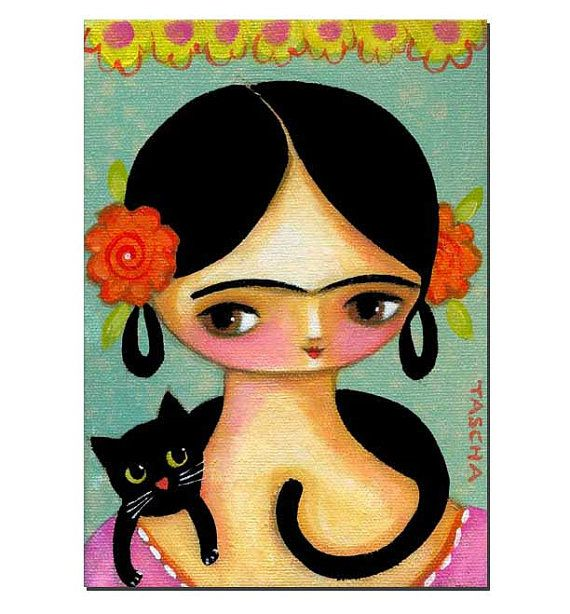 ORIGINAL acrylic painting FRIDA Kahlo Black CAT sweet by tascha