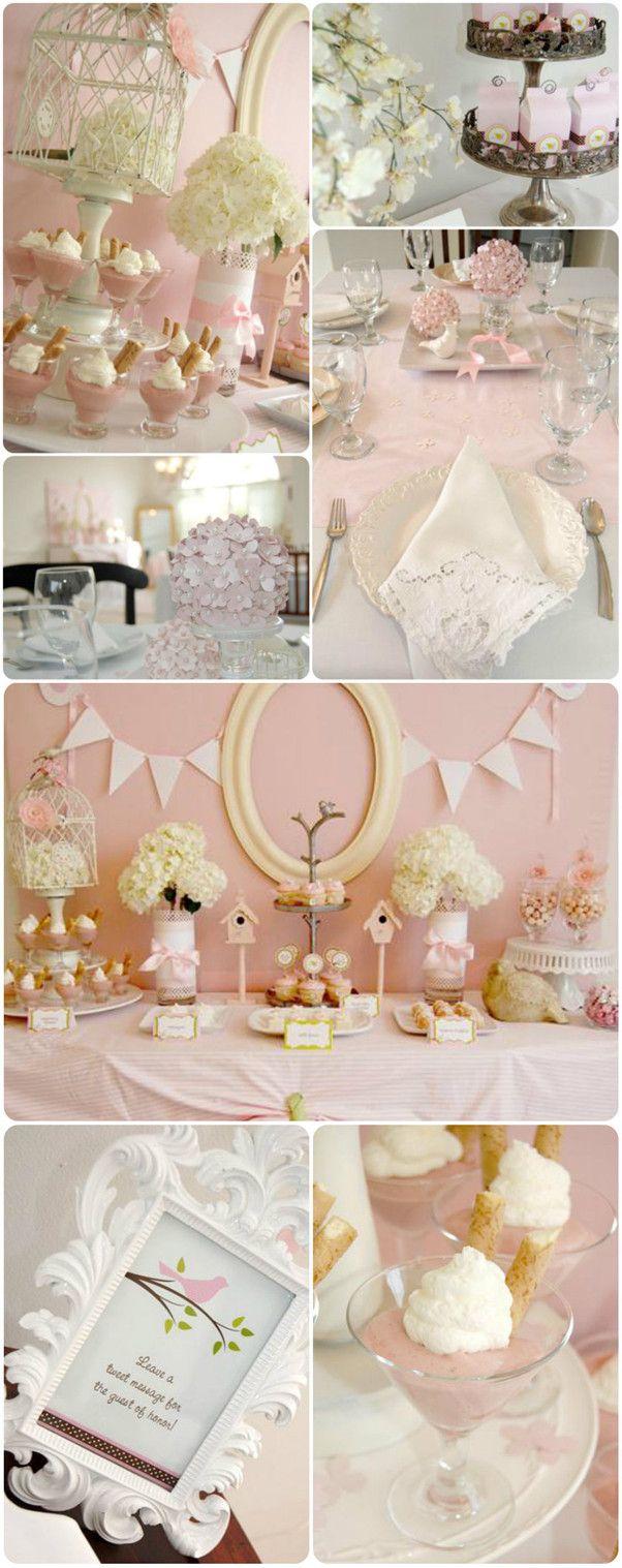 pretty bird theme pink baby shower ideas for girls