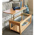 "Convert your coffee table into a dinner table within seconds!  Raise the table top from 18""H to 27 3/4""H on easy-opening, heavy-duty hinges to convert into a table for dining or a desk for your laptop. Locking hinge safely secures table top when raised. Base is 36""L x 20""W x 18""H. Solid oak base and table top accents any decor."