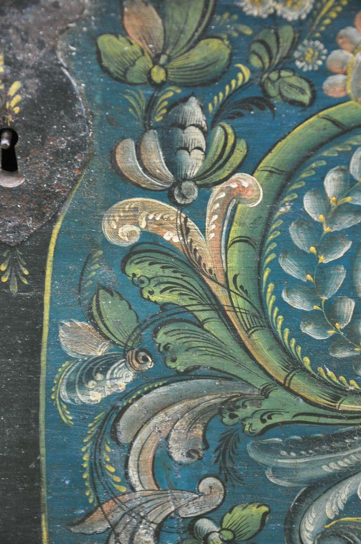 Norwegian Rosemaling Bridal Trunk Luraas 1847 Hardanger Folk Art Viking Norway   eBay