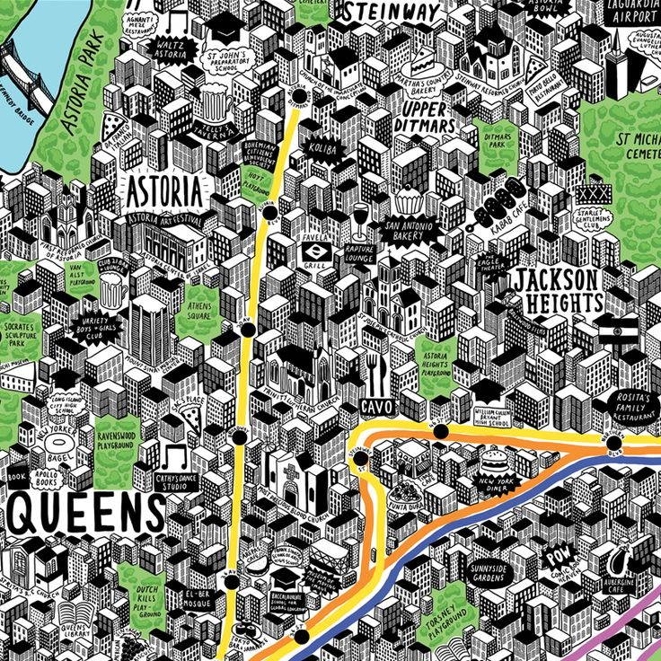 Hand Drawn Map Of New York Art Print | Art Prints & T-shirts from Evermade