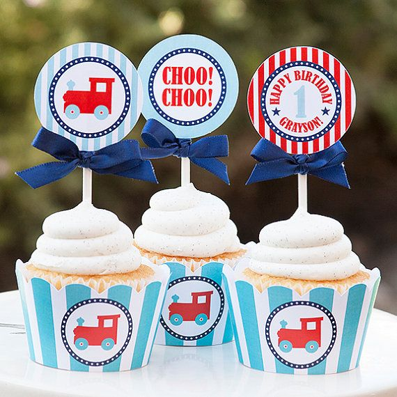 Train party cupcake wrappers Train by TangerinePaperShoppe