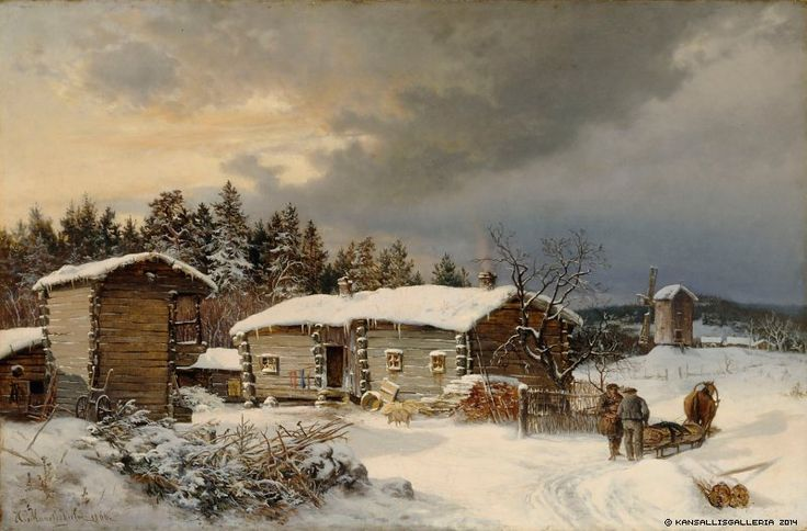 Hjalmar Munsterhjelm (1840-1905) Hämäläistalo talvella / Winter 1866 - Finland - Finnish horse