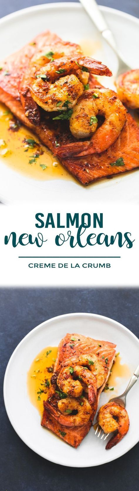 Sweet and savory pan-seared salmon topped with sautéed shrimp in cajun butter sauce. Salmon New Orleans is an unforgettable 30 minute meal your family will crave!   lecremedelacrumb.com #quick #30minute #easy #healthy #salmon #seafood #dinner #shrimp