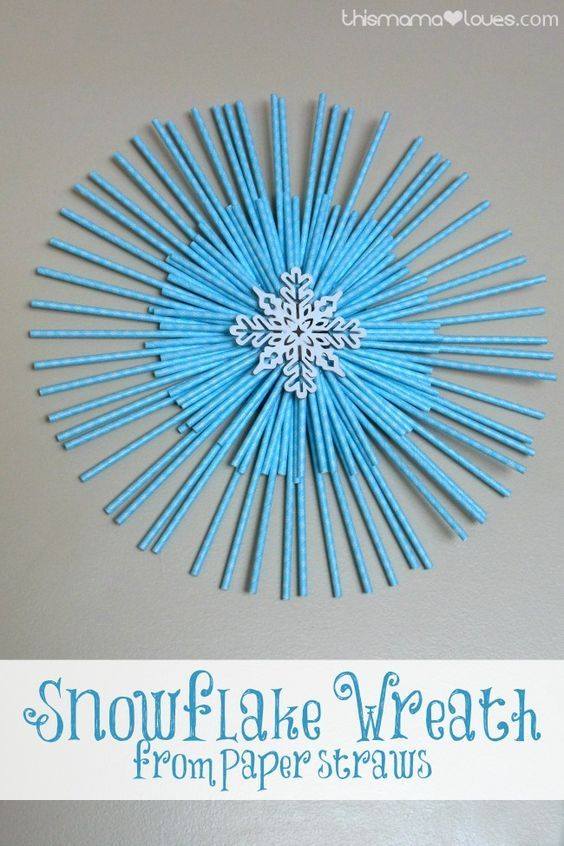 Snowflake Wreath from Paper Straws | Snowflake Wreath, Paper ...
