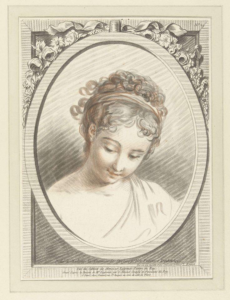 Louis Marin Bonnet | Buste van een jonge vrouw, Louis Marin Bonnet, 1773 | Buste van een jonge vrouw, kijkend naar linksonder. In een ovale omlijsting gedecoreerd met bloemen en een lint.