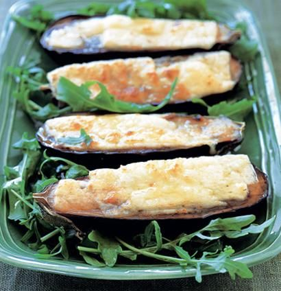 Grilled aubergine with halloumi