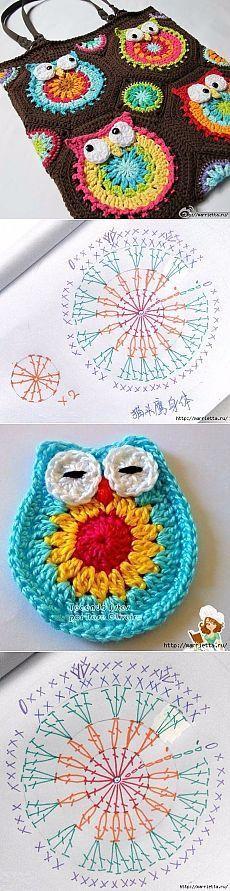 Crochet bag - Owl Free pattern - chart pattern