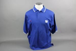 """Jim Fassel 2001 NY Giants Super Bowl XXXV Nike size XL Polo Shirt with Super Bowl XXXV on the right sleeve. The three button polo has """"JF"""" written on the tag in the collar, which we presume means Jim Fassel. There is a red Nike Swoosh on the right chest and an embroidered white NY logo on the left chest. There is an NFL logo on the posterior collar. The jersey shows a little wash wear, but it is in overall excellent condition."""