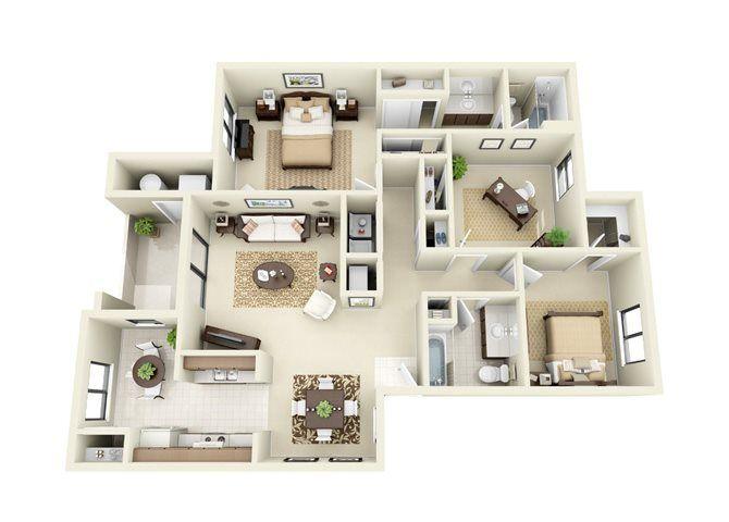 Bosque Three Bedroom Two Bathroom Floor Plans Apartment Floor Plans House Layout Plans