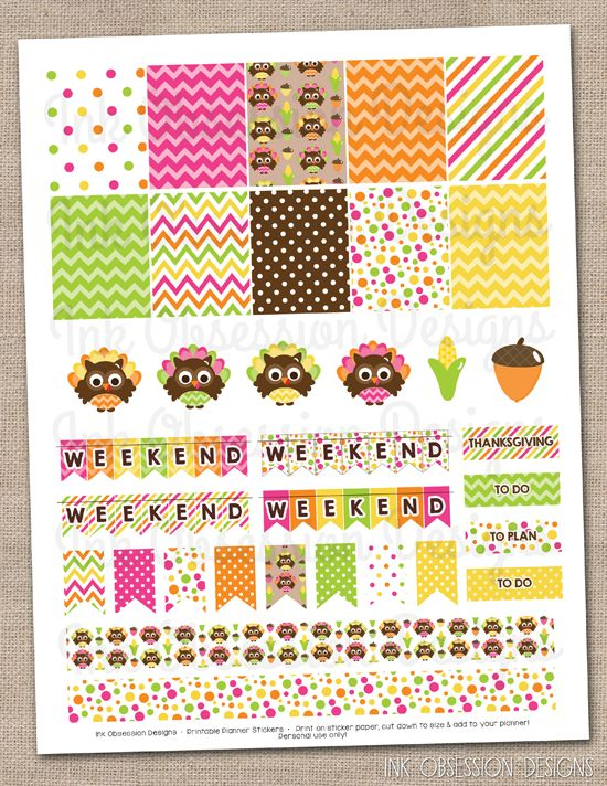 Thanksgiving Owls Planner Stickers Set Instant Download DIY Printable PDF with Checklists Weekend Banners