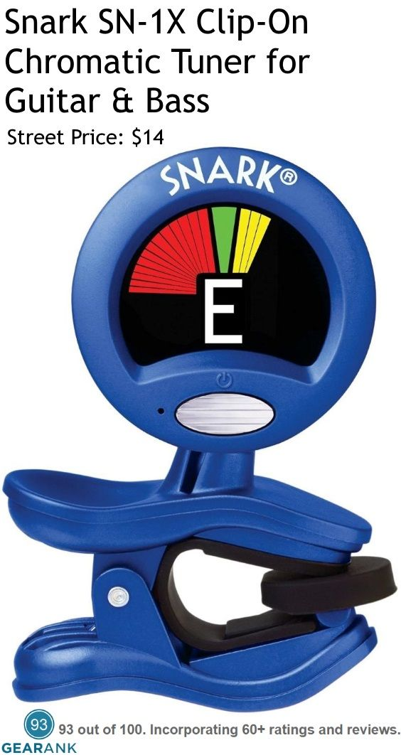Snark SN-1X Clip-On Chromatic Tuner for Guitar & Bass.  Tuning Modes: Guitar, Chromatic, Flat tuning and Transpose modes - Display: Full color, 360° rotation - Weight : 1.6 ounces.  For a detailed guide to The Best Guitar Tuners see https://www.gearank.com/guides/guitar-tuners