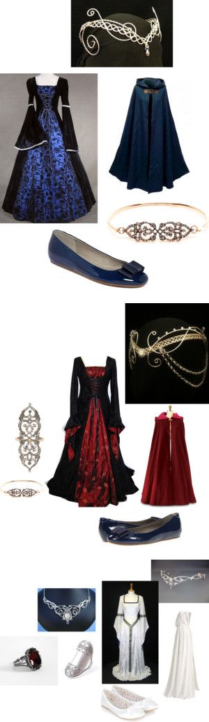 """Top one - possibly a 'guests are coming I need to be presentable' outfit. Bottom might be more of a bridal outfit.  """"Medieval Princess"""" by cecilyfrancis on Polyvore"""