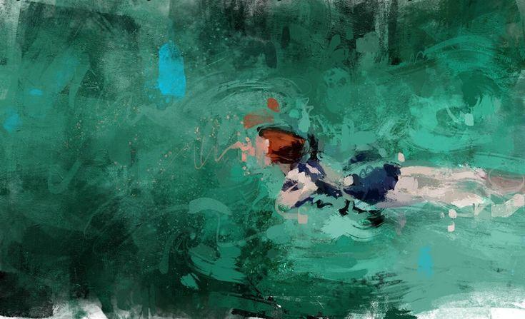 Heerlijke schilderijen van zwemmers via @mixedgrill