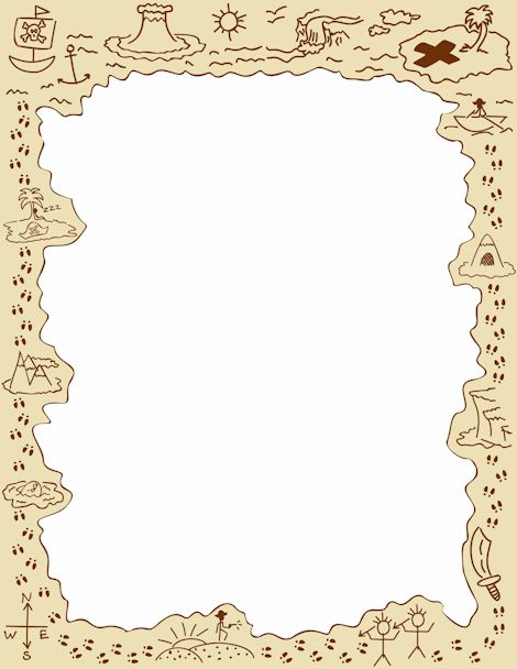 A page border featuring pirate graphics and styled to look like a treasure map. Free downloads at http://pageborders.org/download/pirate-border/