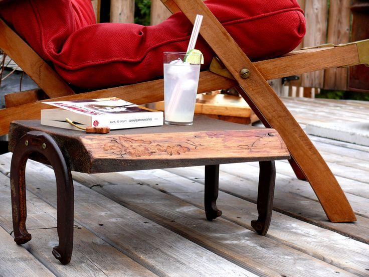 Table et repose-pieds de la boutique Recytrucs sur Etsy