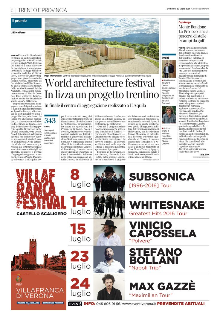 BFA | Corriere del Trentino – 10 Luglio 2016 #architecture #mountains #design #interior #contemporary #modern