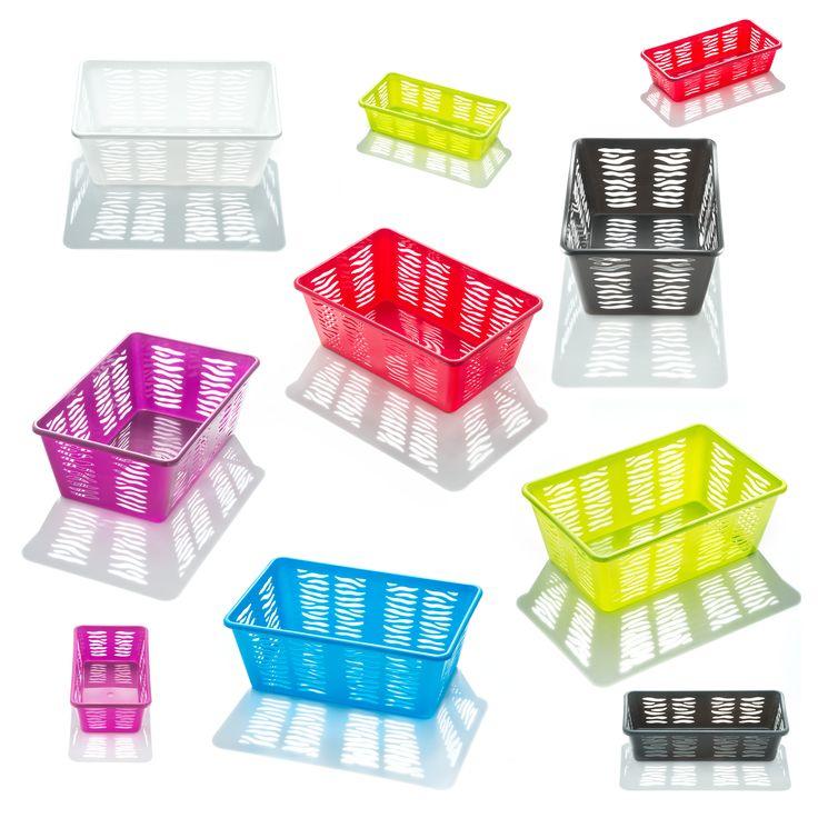 Kolorowe i pożyteczne koszyczki ZEBRA. Uporządkują wszystkie drobiazgi.