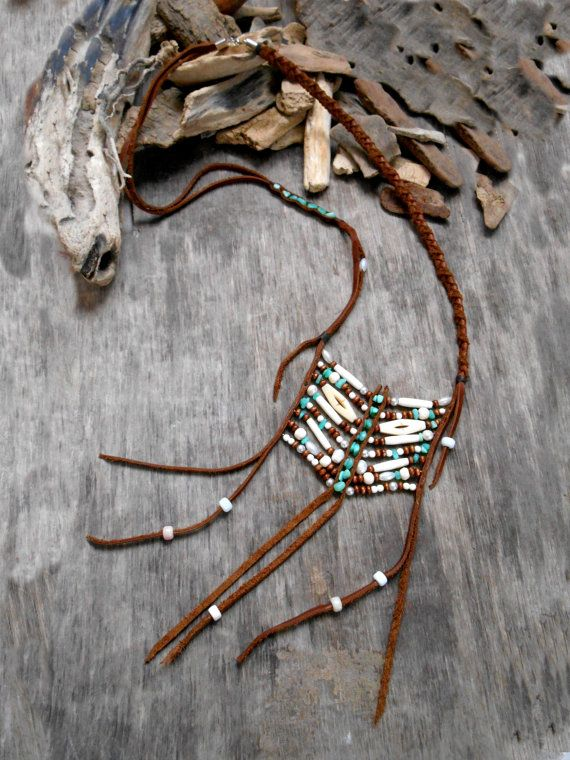 """Pretty necklace """"NATIVE AMERICAN Breastplate"""", Leather, Hemimorphite stone beads, bone beads, Mother of pearl beads, Wood beads, Crow beads"""