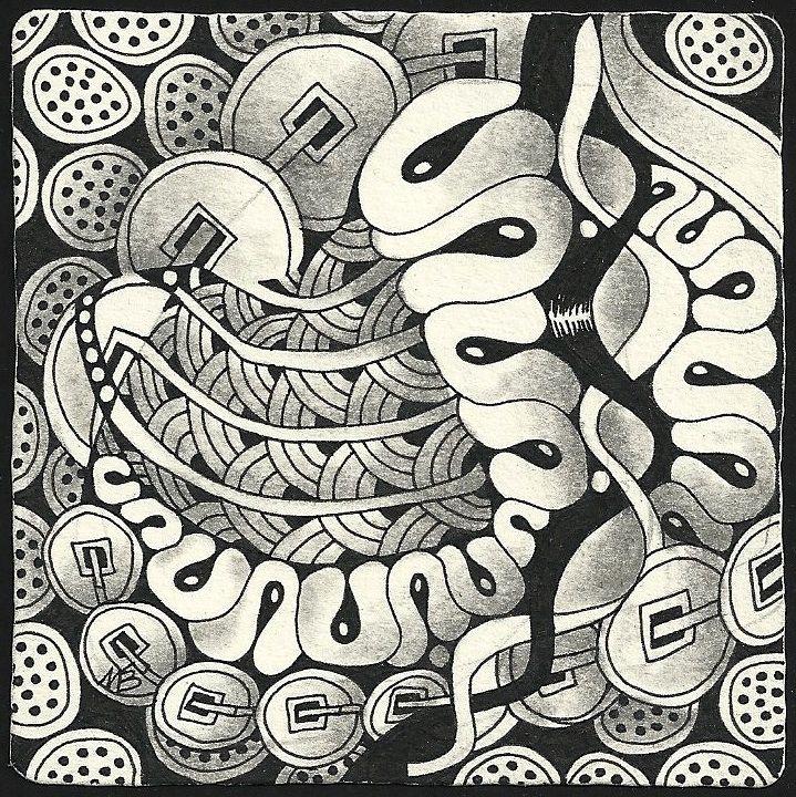 Tangles: Caviar, Festune, Flux, Lotus Pods, Miranda, Prestwood, Yuan. Zentangle drawn by Margaret Bremner, CZT / enthusiasticartist.blogspot.com