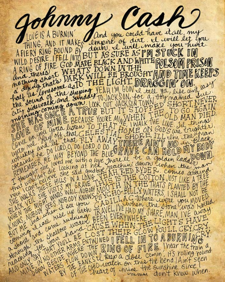 Johnny Cash Lyrics and Quotes - 8x10 handdrawn and handlettered print on antiqued paper rock music lyrics by mollymattin on Etsy