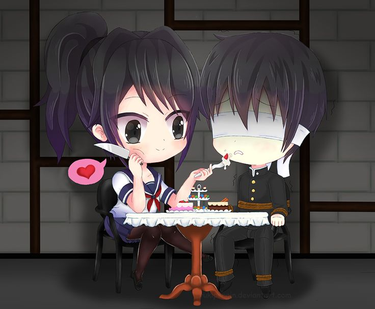 Yandere-Chan and Senpai by Yukipengin.deviantart.com on @DeviantArt