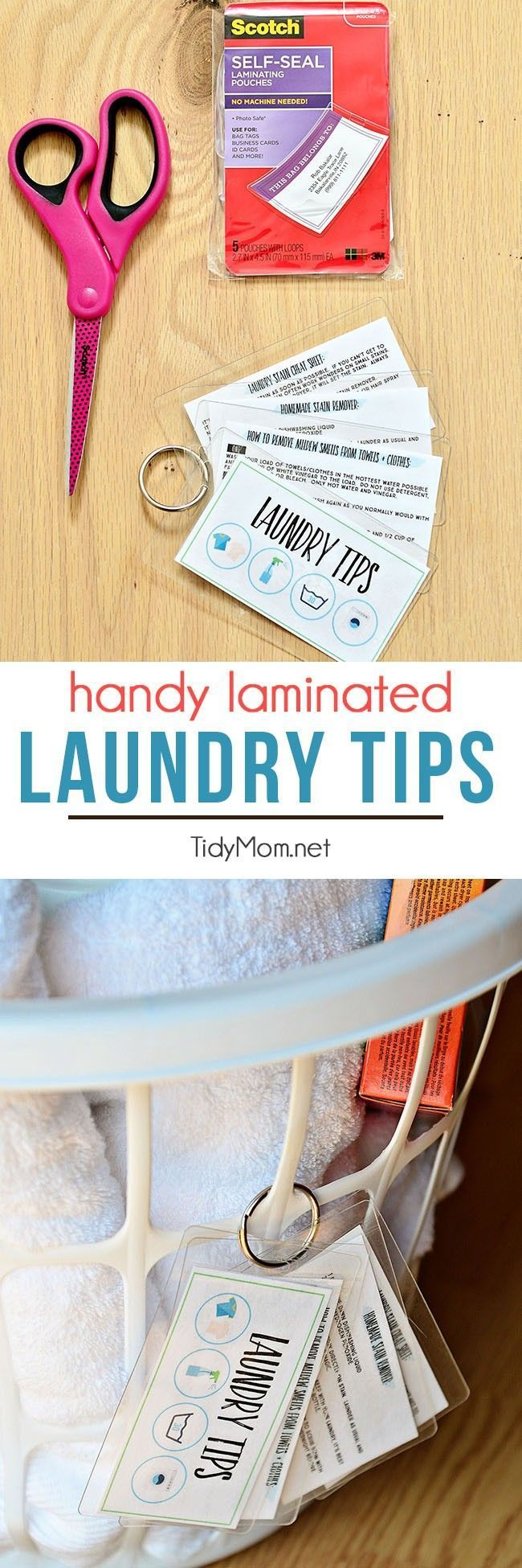 Keep these handy laminated laundry tips at your fingertips. Download and print for free, keep on a ring to hang on basket or on a hook in the laundry room. Use Scotch Self-Seal Laminating pouches and Free printable