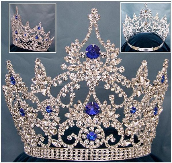 CONTINENTAL BLUE SILVER SAPPHIRE CROWN TIARA Magnificent Rhinestone Crown Tiara, made with the finest rhinestones and silver plated metal. Incorporated in this design are the stones in different sizes